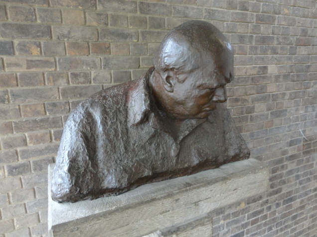 Bust of the founder, Churchill College