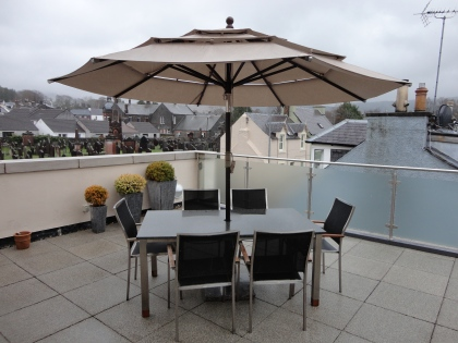 Roof terrace in the rain