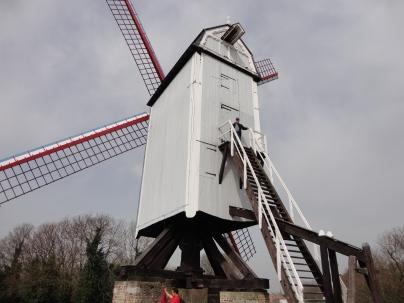 John climbs the windmill
