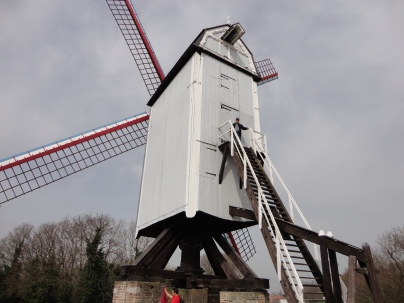 John climbs the windmill