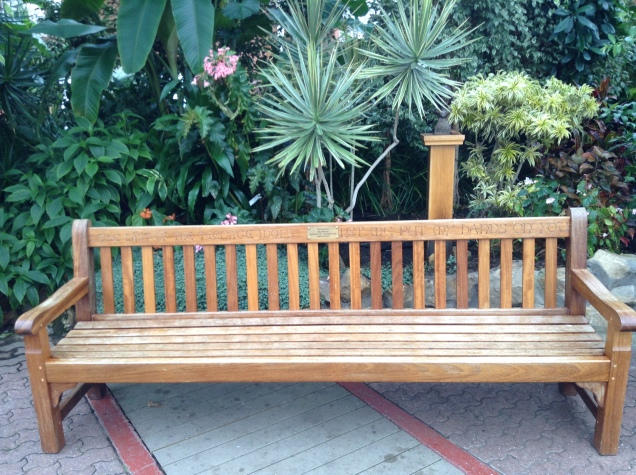 Alex Harvey bench, Winter Gardens, People's Palace, Glasgow