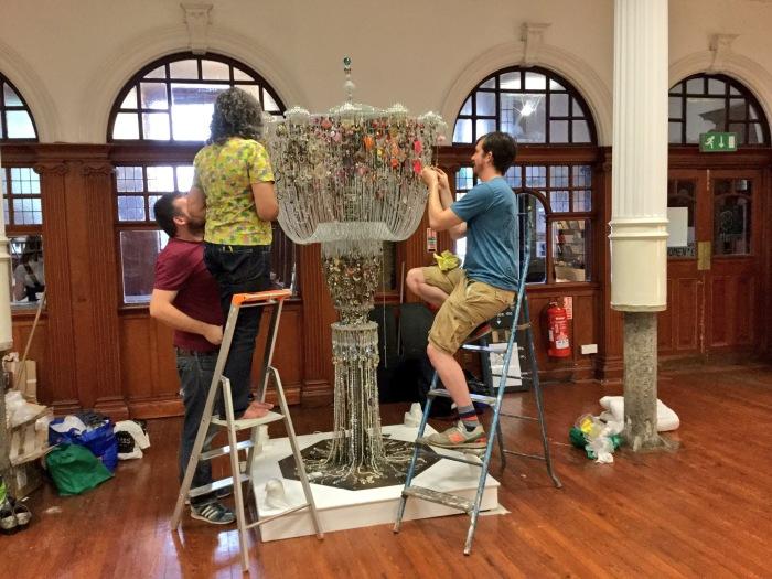 Installing the chandelier