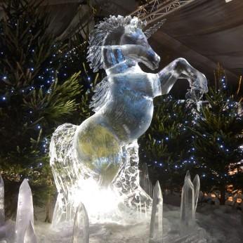 Unicorn ice sculpture