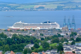 Cruise ship viewed from Greenock Cut