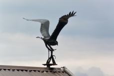 Bird sculpture on the roof