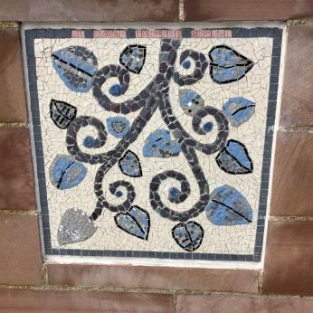 Mosaic on bridge over Allan Water