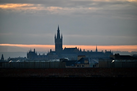 Glasgow University from Forth and Clyde Canal